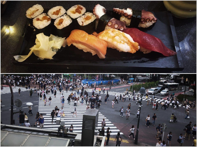 Sushi at Tsukiji, Shibuya Crossing